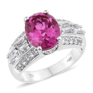 Radiant Orchid Quartz, White Topaz Platinum Over Sterling Silver Ring (Size 7.0) TGW 7.10 cts.