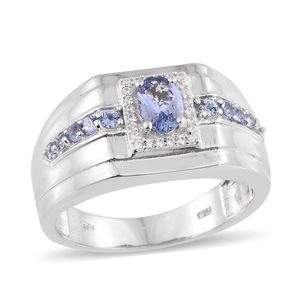 Tanzanite, Cambodian Zircon Platinum Over Sterling Silver Men's Signet Ring (Size 12.0) TGW 1.32 cts.