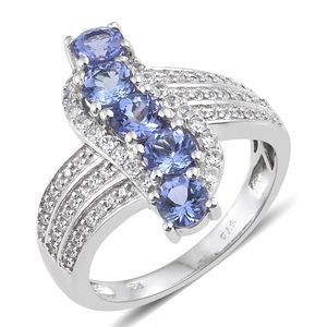 Tanzanite, Cambodian Zircon Platinum Over Sterling Silver Ring (Size 5.0) TGW 2.90 cts.