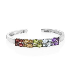 Multi Gemstone Stainless Steel Cuff (7.25 in) TGW 11.05 cts.