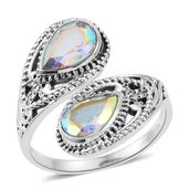 Artisan Crafted Mercury Mystic Topaz Sterling Silver Bypass Ring (Size 7.0) TGW 3.16 cts.