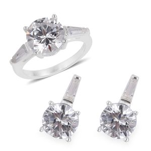 Simulated Diamond Stainless Steel Earrings and Ring (Size 6) TGW 3.40 cts.