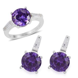 Simulated Amethyst, Simulated Diamond Stainless Steel Earrings and Ring (Size 7) TGW 3.40 cts.
