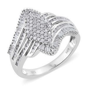 TLV Diamond Platinum Over Sterling Silver Ring (Size 7.0) TDiaWt 1.00 cts, TGW 1.00 cts.
