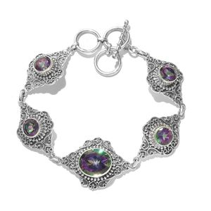 Artisan Crafted Northern Lights Mystic Topaz Sterling Silver Bracelet (8.50 In) TGW 19.38 cts.