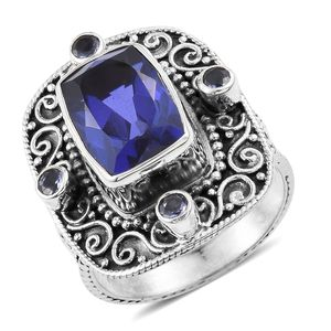 Playa Quartz, Catalina Iolite Sterling Silver Cuff Ring (Size 8.0) TGW 8.14 cts.