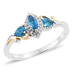 Malgache Neon Apatite, Cambodian Zircon 14K YG and Platinum Over Sterling Silver Ring (Size 9.0) TGW 0.68 cts.