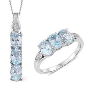 Sky Blue Topaz, Cambodian Zircon Platinum Over Sterling Silver Ring (Size 7) and Pendant With Chain (20 in) TGW 6.00 cts.