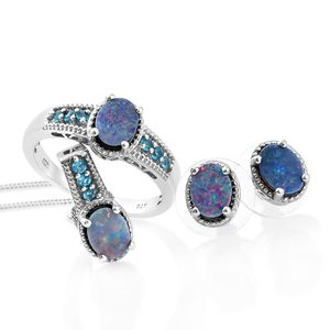 Customer Appreciation Day Australian Boulder Opal, Malgache Neon Apatite Platinum Over Sterling Silver Earrings, Ring (Size 5) and Pendant With Chain (20 in) TGW 3.79 cts.