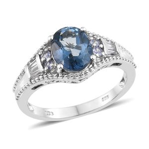 Freedom Blue Mystic Topaz, Multi Gemstone Platinum Over Sterling Silver Ring (Size 8.0) TGW 3.60 cts.