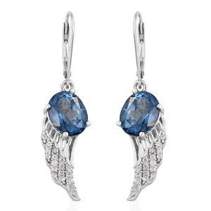 Freedom Blue Mystic Topaz, Cambodian Zircon Platinum Over Sterling Silver Wings Lever Back Earrings TGW 6.57 cts.