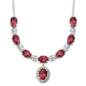 Coral Reef Mystic Topaz, Cambodian Zircon Platinum Over Sterling Silver Necklace (18 in) TGW 13.20 cts.