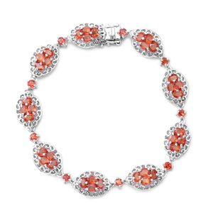 Dark Orange Sapphire Sterling Silver Bracelet (6.50 In) TGW 6.80 cts.