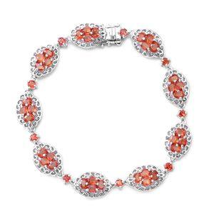 Dark Orange Sapphire Sterling Silver Bracelet (7.50 In) TGW 8.55 cts.