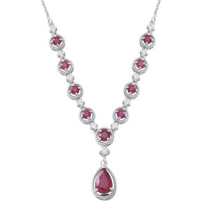 Niassa Ruby, Cambodian White Zircon Sterling Silver Princess Drop Necklace (18 in) TGW 8.78 cts.