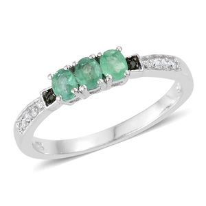 Brazilian Emerald, Cambodian Zircon, Diamond Accent Platinum Over Sterling Silver Ring (Size 5.0) TGW 0.61 cts.