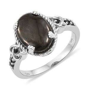 Shungite, Thai Black Spinel Platinum Over Sterling Silver Ring (Size 7.0) TGW 3.91 cts.