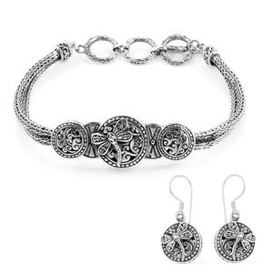TLV  Bali Legacy Collection Sterling Silver Dragonfly Tulang-naga Bracelet (7.50 In) and Earrings