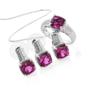 Radiant Orchid Quartz, Cambodian Zircon Platinum Over Sterling Silver Earrings, Ring (Size 7) and Pendant With Chain (20 in) TGW 10.03 cts.