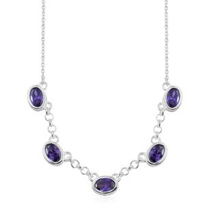 Simulated Amethyst Sterling Silver Necklace (18 in) TGW 3.30 cts.