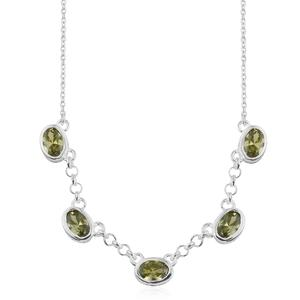 Simulated Peridot Diamond Sterling Silver Necklace (18 in) TGW 3.65 cts.