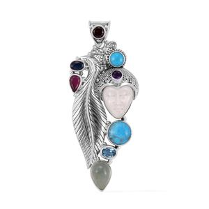Bali Goddess Collection Carved Bone, Multi Gemstone Sterling Silver Pendant without Chain TGW 17.03 cts.