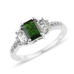 Russian Diopside, White Topaz Platinum Over Sterling Silver Ring (Size 10.0) TGW 2.19 cts.