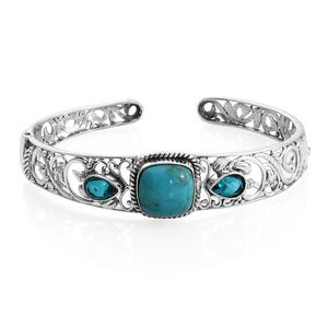 TLV Chinese Turquoise, Capri Blue Quartz Sterling Silver Cuff (8 in) TGW 11.75 cts.