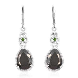 Shungite, Russian Diopside Platinum Over Sterling Silver Lever Back Earrings TGW 6.25 cts.