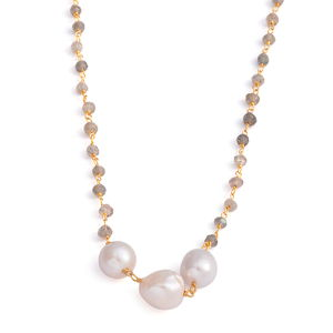 Malagasy Labradorite, Freshwater Pearl 14K YG Over Sterling Silver Trilogy Station Necklace (18 in) TGW 25.37 cts.