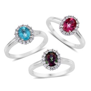 Northern Lights Mystic Topaz, Pure Pink Mystic Topaz, Paraiba Topaz, Cambodian Zircon Platinum Over Sterling Silver Set of 3 Ring (Size 7) TGW 5.65 cts.
