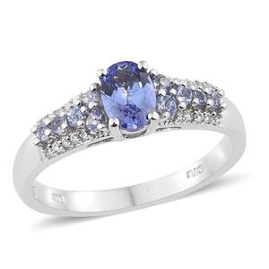 Tanzanite, Cambodian Zircon Platinum Over Sterling Silver Ring (Size 6.0) TGW 1.27 cts.
