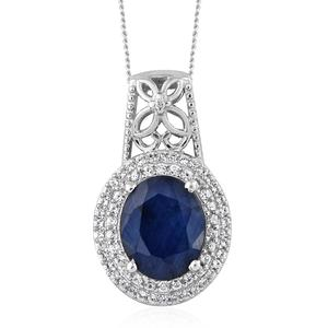 Madagascar Blue Sapphire, Cambodian Zircon Platinum Over Sterling Silver Pendant With Chain (20 in) TGW 4.91 cts.