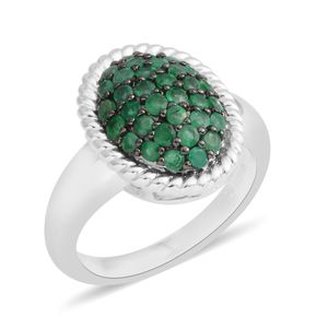 Brazilian Emerald Sterling Silver Cluster Ring (Size 7.0) TGW 0.75 cts.