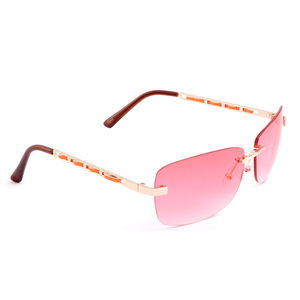 UV 400 Celebrity Sunglasses- Pink (Light Gold Frames, Brown/Red Earpiece)