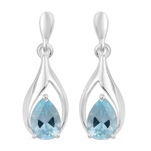 Sky Blue Topaz Sterling Silver Drop Earrings TGW 1.71 cts.