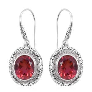 Bali Legacy Collection Sunset Quartz, White Zircon Sterling Silver Earrings TGW 11.08 cts.