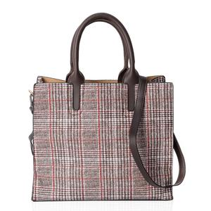 Brown Faux Leather Houndstooth and Plaid Mix Pattern Tote Bag with Handle Drop and Shoulder Strap (12.4x4.4x11 in)