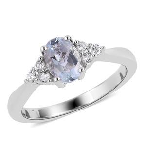 Espirito Santo Aquamarine, Natural White Zircon Sterling Silver Ring (Size 6.0) TGW 0.95 cts.