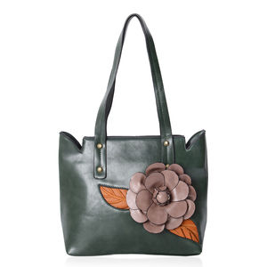 Green with Brown Leaves and Pink Flower Faux Leather Tote Bag with Handle Drop (12x5.2x11 in)