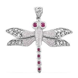 Bali Legacy Collection Burmese Ruby, White Zircon Sterling Silver Dragonfly Pendant without Chain TGW 1.28 cts.