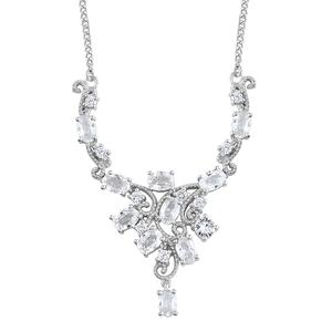 Natural White Zircon Platinum Over Sterling Silver Necklace (18 in) TGW 8.82 cts.