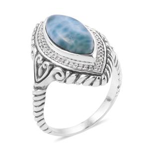 Bali Legacy Collection Larimar, White Zircon Sterling Silver Ring (Size 6.0) TGW 5.37 cts.