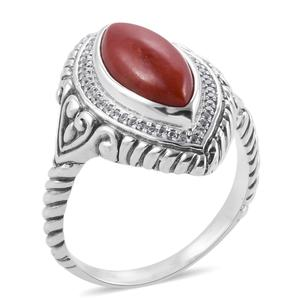 Bali Legacy Collection Burmese Red Jade, White Zircon Sterling Silver Ring (Size 7.0) TGW 5.15 cts.