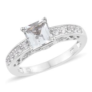 White Topaz Platinum Over Sterling Silver Ring (Size 9.0) TGW 2.75 cts.