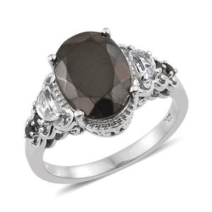 Shungite, Multi Gemstone Platinum Over Sterling Silver Ring (Size 7.0) TGW 4.57 cts.