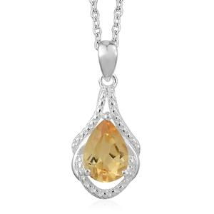 Brazilian Citrine Sterling Silver Drop Pendant With Stainless Steel Chain (20 in) TGW 1.75 cts.