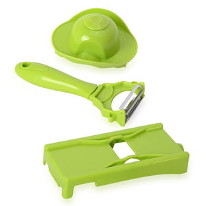 Green Stainless Steel Set of Magic Peeler and Julienne with Protector