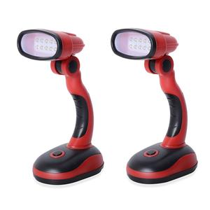 TLV Red Set of 2 Flexible Cordless Desk Lamp (Requires 3 AA Batteries)