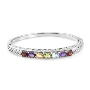 Multi Gemstone Stainless Steel Bangle (7.25 in) TGW 5.75 cts.